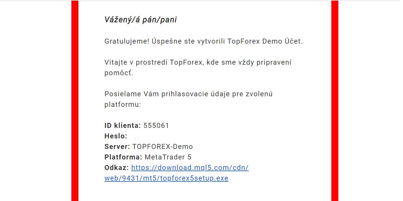 TopForex Demo mail