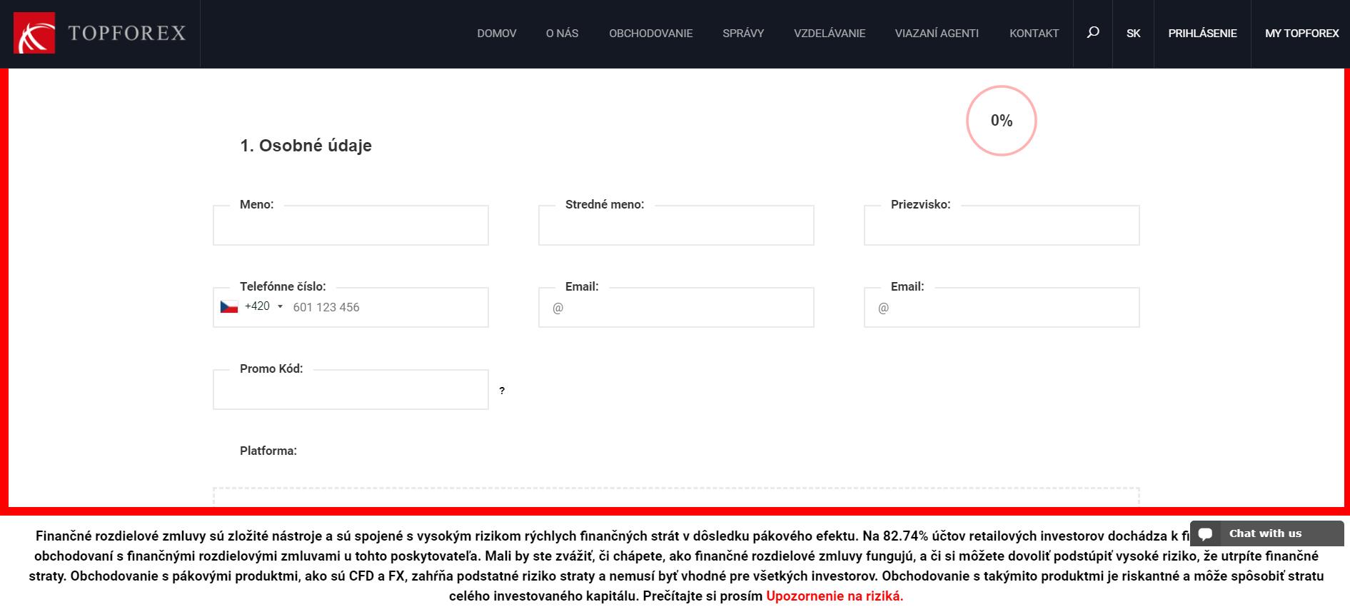 TopForex Demo registracia
