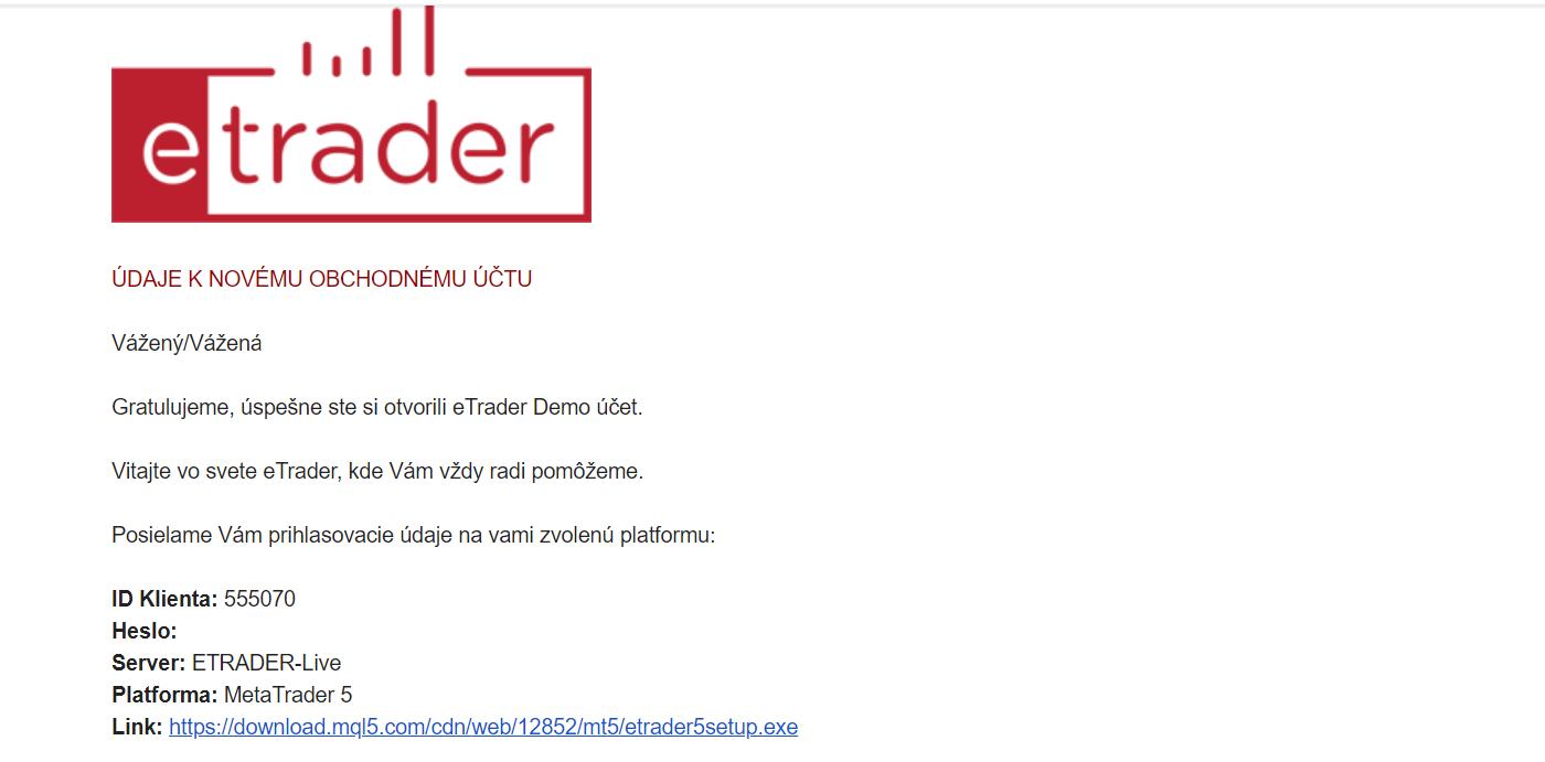 eTrader Demo mail