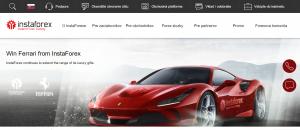 Hlavná stránka webu brokera InstaForex