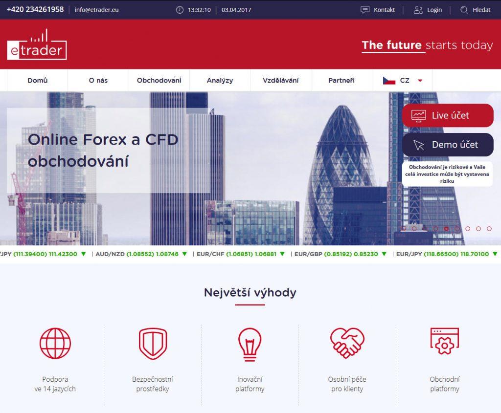 Webová stránka brokera eTrader