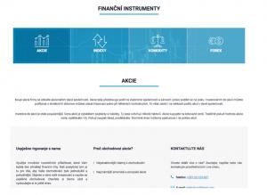 Sekcia finančné inštrumenty na webe brokera Profitlevel