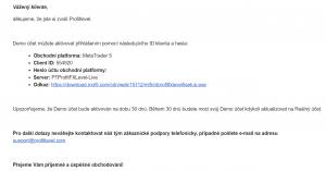 Uvítací e-mail zaslaný brokerom Profitlevel po založení demoúčtu