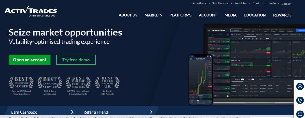 webová stránka ActivTrades Corp