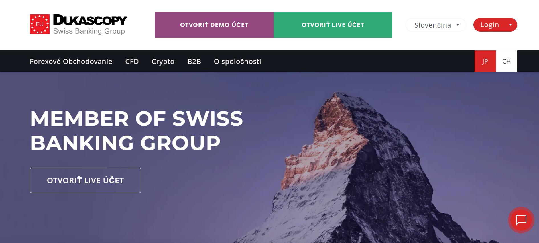 Web spoločnosti Dukascopy