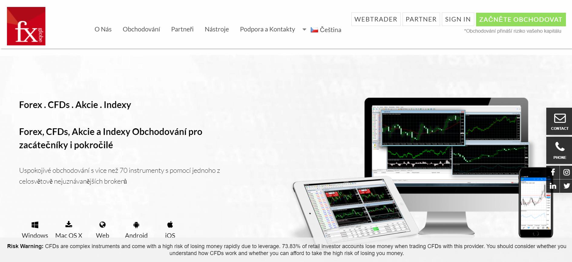 Web spoločnosti FxGlobe CZ