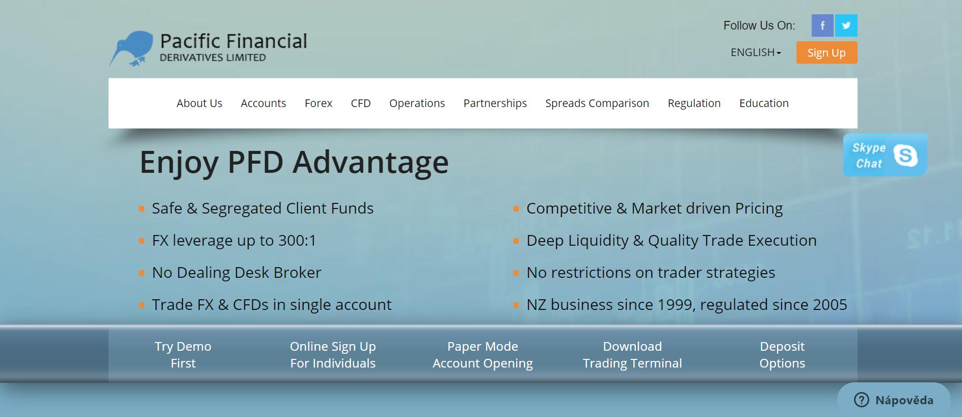 Web spoločnosti Pacific Financial Derivatives Limited